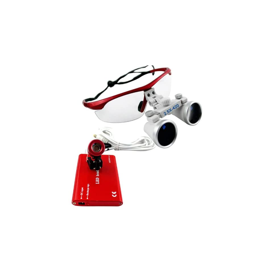Red 2.5 ×420 Dental Surgical Binocular Loupes + Red LED Head Light Lamp Health & Personal Care