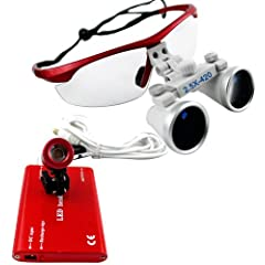 Red 2.5 ×420 Dental Surgical Binocular Loupes + Red LED Head Light Lamp by BEAUTYLIFE