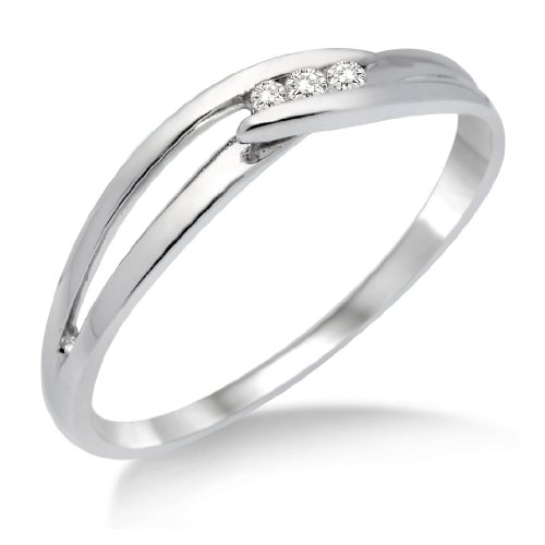 Diamond Ring, 9ct White Gold, Diamond Crossover Ring, Size N, by Miore, MA940RO