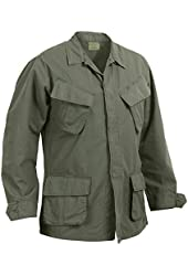 Vintage Style Olive Drab Rip Stop Vietnam Fatigue Shirt