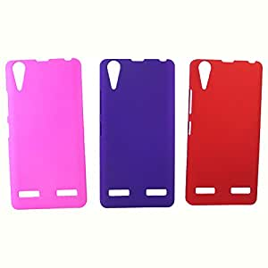 Topping Premium Rubberized Back Hard Case For Lenovo A6000 - Pink,Purple & Red(Pack of 3)