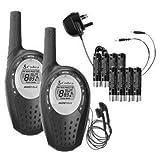Cobra MT800 - Juego de Walkie Talkie (2 unidades) con baterías y conector inglés (no es compatible con enchufe...