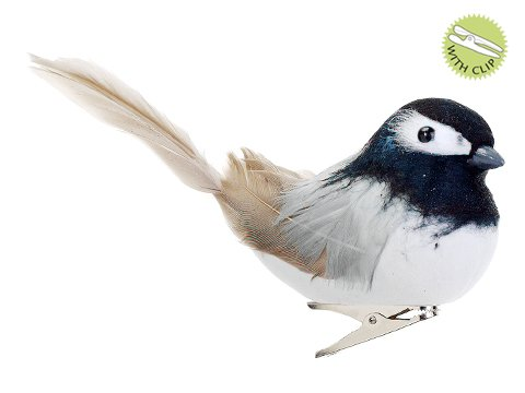 5″ Feathered Black-Capped Chickadee Clip-On Bird Christmas Ornament