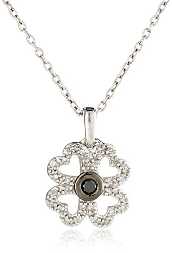 """Women'S Sterling Silver Black And White Diamond Clover Pendant Necklace (0.12 Cttw, I-J Color, I2-I3 Clarity) 18"""""""