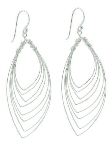 Clevereve Designer Series Sterling Silver Multi-Wire Dangling Leaf Pattern Earrings W/ Fish Hook Backs