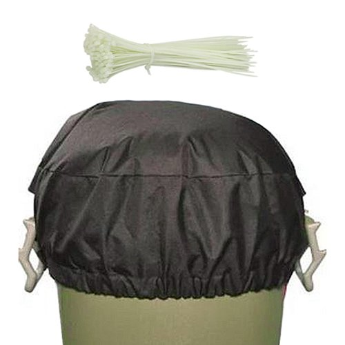 Fabric Trash Can Cover w/ 50 Zip Ties Weather Animal Proof Garbage Lid Top (Trash Can Lid Replacement compare prices)