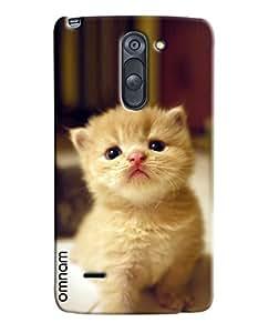 Omnam Beautiful White Cat Printed Designer Back Cover Case For LG G3 Stylus