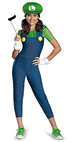 Super Mario Brothers Tween Luigi Girl Costume Blue/Green Medium (7-8) Super