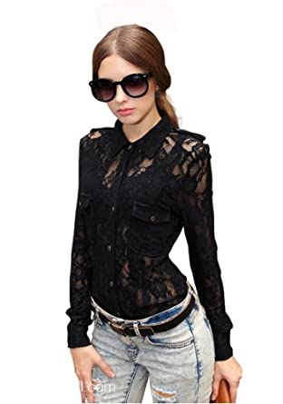 Krazy Semi-Sheer Embroidered Button Down Fitted Lace Shirt Top Blouse BLACK US Size 0-6