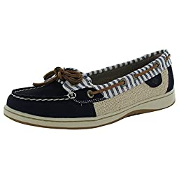 Sperry Top-Sider Women\'s Angelfish Stripe Boat Shoe, Navy, 8 M US