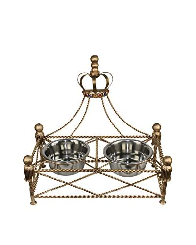 Antique Iron Crown Pet Feeder, Gold