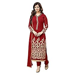 Resham Fabrics Red Georgette Embroidered Salwar Suit Dupatta Material