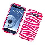 Eagle Cell PISAMI9300R129 Stylish Hard Snap-On Protective Case for Samsung Galaxy S3 - Retail Packaging - Zebra Pink/White