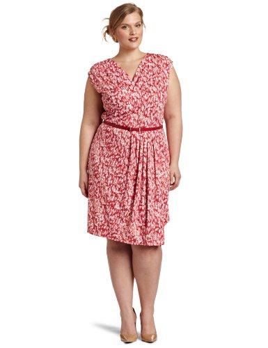 Anne Klein Women's Plus-size Tonal Printed Matte Dress