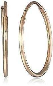 """Duragold 14k Yellow Gold Endless Hoop Earrings (0.45"""" Diameter)"""