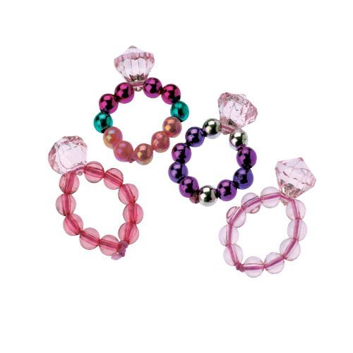 Dozen Assorted Design Stretchy Princess Jewel Rings