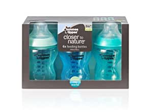 Tommee Tippee Closer to Nature Colour My World 260 ml/ 9 fl oz Decorated Feeding Bottles (Pack of 6, Blue & Green)