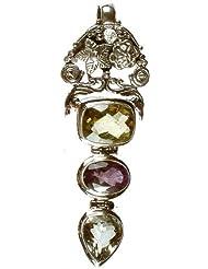 Exotic India Gemstone Designer Pendant (Faceted Lemon Topaz, Amethyst And Green Amethyst) - Sterling