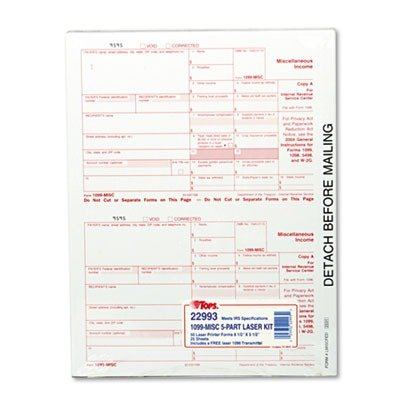 Tops 5-Part Miscellaneous 1099 Tax Forms For Laser Printers 50 Pack (22993)