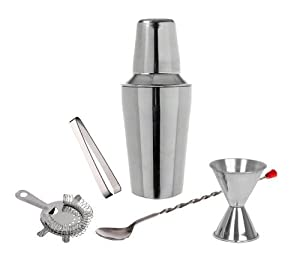 5 Piece Set - Stainless Steel Cocktail Martini Shaker Bar Set by Bar Master