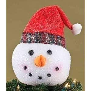 'Twas the Night Glittered Snowman Head w/ Red Hat Christmas Tree Topper - Unlit reviews images