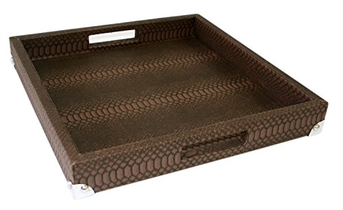 WOOSAL Square Snake Leather Serving Tray with Handles(Brown) (Cocktail Ottoman Tray compare prices)