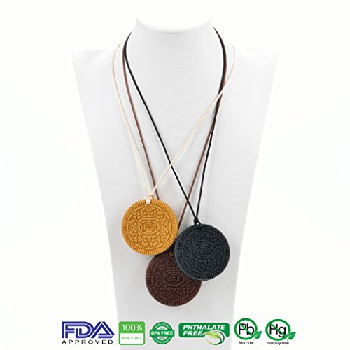 4-Pack-Cookie-Teether-Necklace-by-Precious-Baby-4-Pieces-2-Hard-2-Blacks-2-Soft-1-Brown-and-1-Vanilla