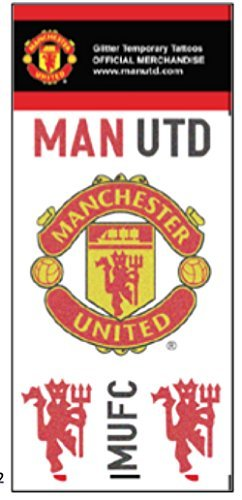 Official Manchester United FC Glitter Temporary Tattoos