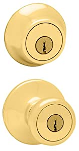 Kwikset 695 Tylo Entry Knob and Double Cylinder Deadbolt Combo Pack in Polished Brass