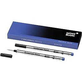 Mont Blanc Lot de 2 recharges authentiques pour stylo Mont Blanc Rollerball Encre bleue Pointe moyenne Fabriqué en Allemagne
