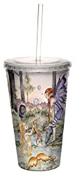 Tree-Free Greetings cc33563 Fantasy The Wishing Fish Mermaid and Fairy Double Walled Cool Cup with Reusable Straw by Amy Brown, 16-Ounce