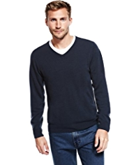Cashmilon™ Long Sleeve V-Neck Jumper