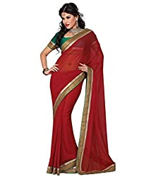 Rockchin Fashions Women's Non Leather Saree (RC-5028_Red)
