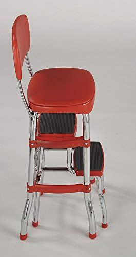 Chair Stepladder Stool Step Folding Red Retro Counter