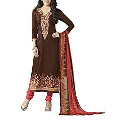 Destiny Enterprise Embroidered Cotton Unstitched Party Wear Brown Color Dress Material for Women
