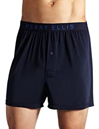 Perry Ellis Men\'s Luxe Solid Boxer, Navy, Large