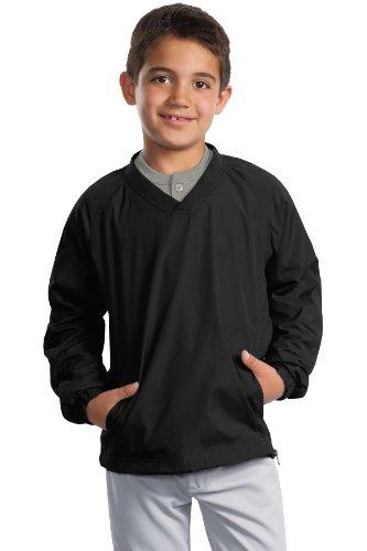 Sport-Tek - Youth V-Neck Raglan Wind Shirt. - Black - S front-650800