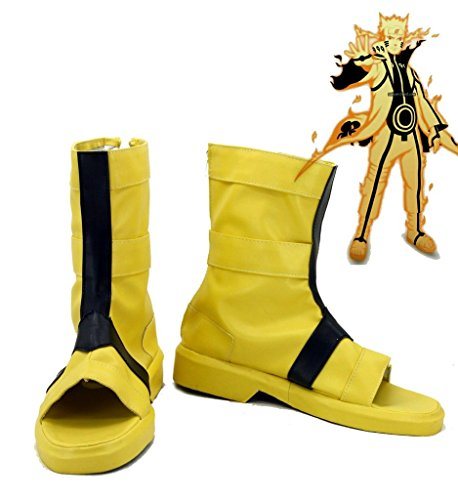 NARUTO Anime Uzumaki Naruto Cosplay Shoes Boots Custom Made Nine-Tails Chakra Mode (Naruto Nine Tails Figure compare prices)