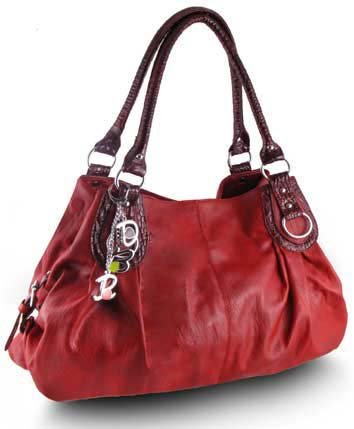 Large Charm Hobo Handbag (Deep Red)