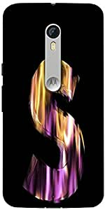 Snoogg Flaming 3D Letter Designer Protective Back Case Cover For Motorola Moto X Style