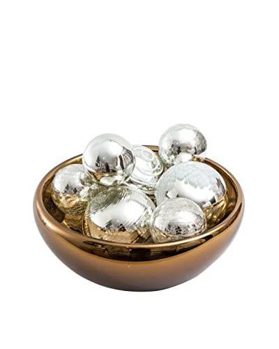 Worldly Goods Glass Bowl with 8 Glass Spheres, Silver/Chocolate