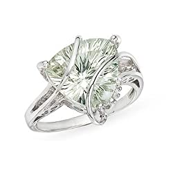 4 Carat Trillion-Cut Green Quartz and Diamond 14K White Gold Ring