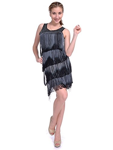 Anna-Kaci S/M Fit Black & Grey 1920's Inspired Flapper Swinging Fringe Dress