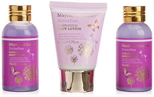 Mayfair Of London MLB2962 Set di Bagno, Farfalle, 3 Pezzi, Porpora