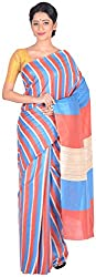 Sree Howrah Stores Women's Art Silk Saree with Blouse Piece (Blue and Red)