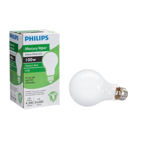 Philips 140814 High Intensity Discharge Mercury Vapor 100-Watt A23 Medium Base Light Bulb