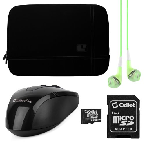 Sumaclife Premium Microsuede Protective Zipper Sleeve Cover W/ Insulated Neoprene Bubble Padding (Black) For Lenovo Thinkpad / Thinkpad Edge / Essential / Ideapad 15.6 Inch Laptops + Green Vg Stereo Headphones With Mic + Black Sumaclife Wireless Usb Mouse front-285264