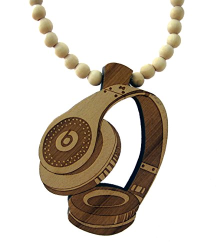 Brown Urban Wooden Bead Beats Headphones Style Necklace Hiphop Chain