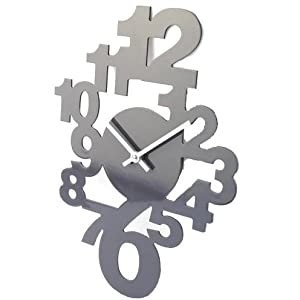 Horloge murale design en bois gris cuisine - Horloge cuisine design ...