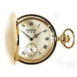Bernex Mechanical Gold Plate Full Hunter Gents Pocket Watch BN22103